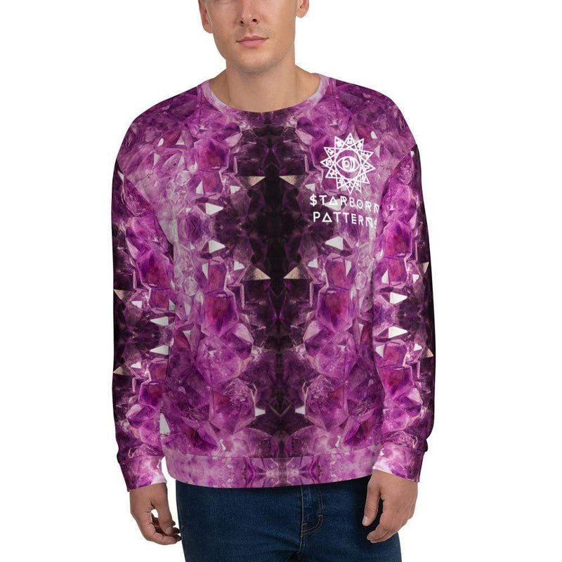 Cosmic Comfort Unisex Crewneck in Amethyst Dreams - Birthday Predictions Solar Return Report | Astrological birth chart analysis, cosmic clothing & home goods!