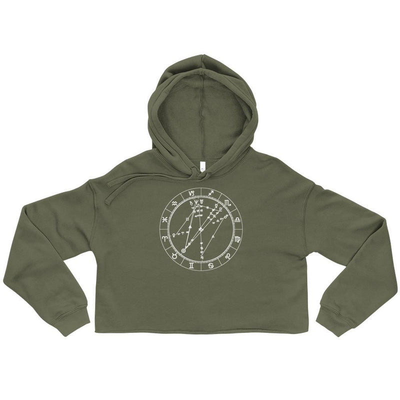 Birth Chart Cropped Fleece Hoodie + Custom Astrology Book - Birthday Predictions Solar Return Report | Astrological birth chart analysis, cosmic clothing & home goods!