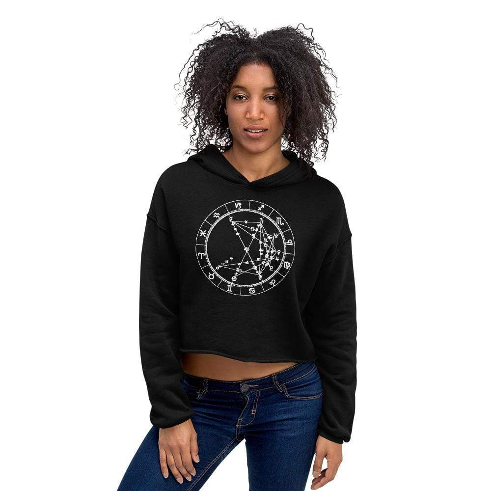 Cozy Flirt Cropped Fleece Hoodie - Birthday Predictions Solar Return Report | Astrological birth chart analysis, cosmic clothing & home goods!