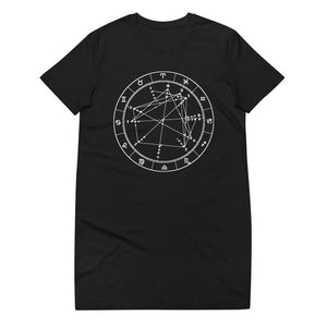 Cozy Flirt ORGANIC Cotton T-Shirt Dress - Birthday Predictions Solar Return Report | Astrological birth chart analysis, cosmic clothing & home goods!