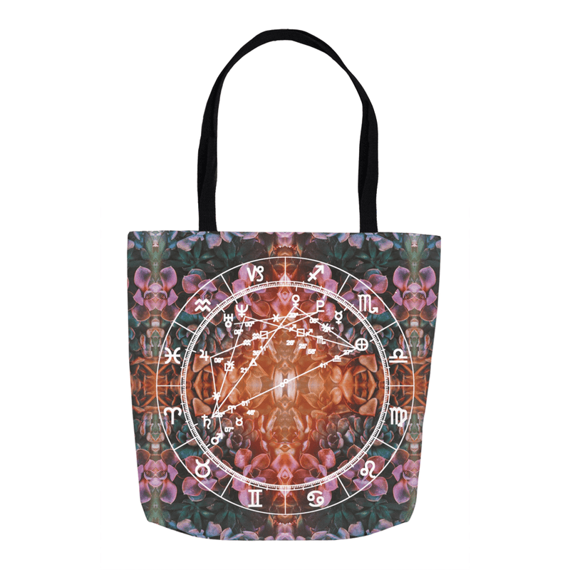 Star Chart Tote Bag in Golden Hour + Custom Astrology Book - Birthday Predictions Solar Return Report | Astrological birth chart analysis, cosmic clothing & home goods!