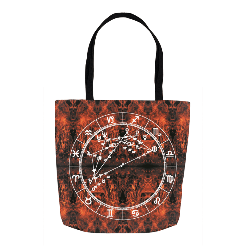 Star Chart Tote Bag in Mars Mood - Birthday Predictions Solar Return Report | Astrological birth chart analysis, cosmic clothing & home goods!