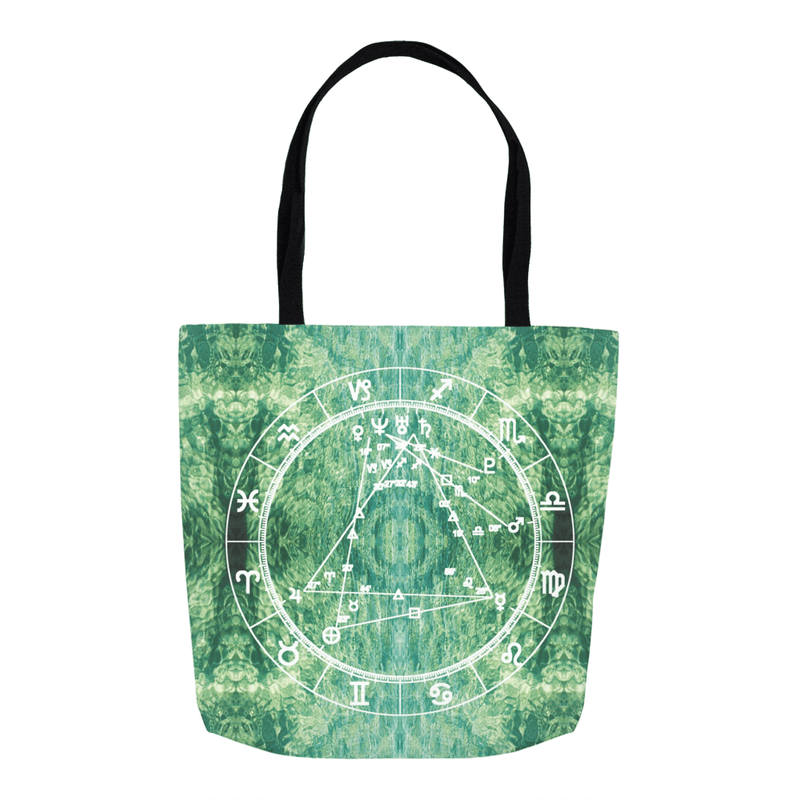 Star Chart Tote Bag in sLIQUID - Birthday Predictions Solar Return Report | Astrological birth chart analysis, cosmic clothing & home goods!