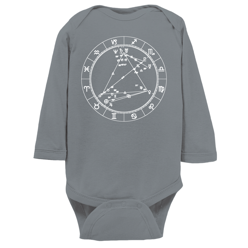 Star Seed Long Sleeve Infant Baby Onesie + Custom Astrology Book - Birthday Predictions Solar Return Report | Astrological birth chart analysis, cosmic clothing & home goods!
