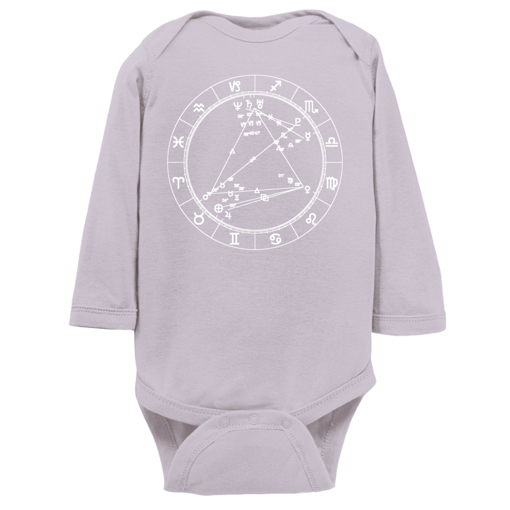 Star Seed Long Sleeve Infant Baby Onesie - Birthday Predictions Solar Return Report | Astrological birth chart analysis, cosmic clothing & home goods!