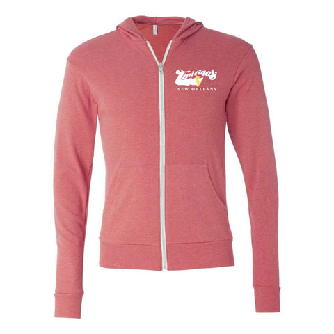Unisex Triblend Lightweight Logo Hoodie - Heather Red