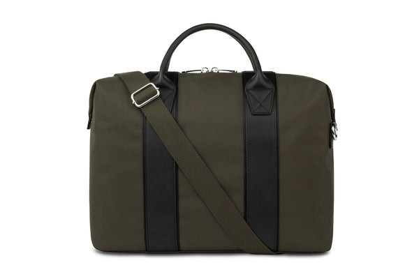 The dark green briefcase
