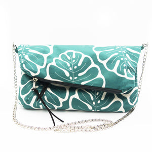 Diagonal Clutch in velluto - MONSTERA