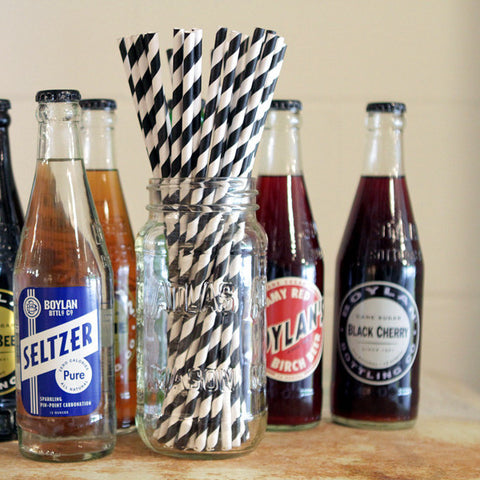 Black and white paper straws