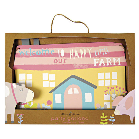 happy little farm party garland