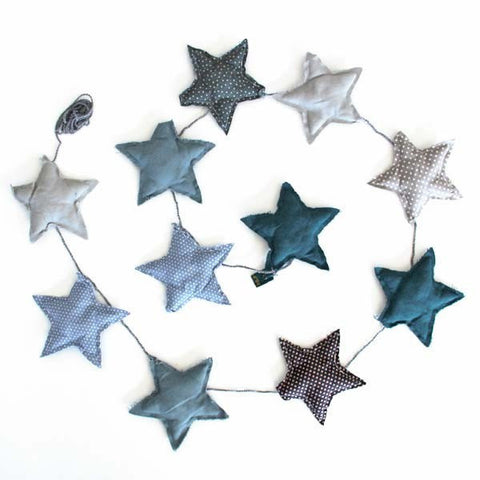 Mini star garland mix blue