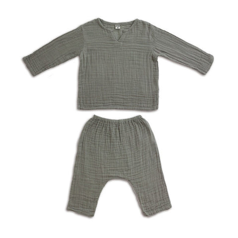 Zac shirt and pants silver grey