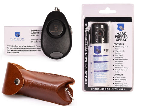 personal safety alarm and pepper spray with leather cover