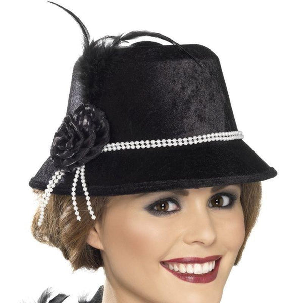 1920S Hat Adult Black - 20S Razzle Mad Fancy Dress
