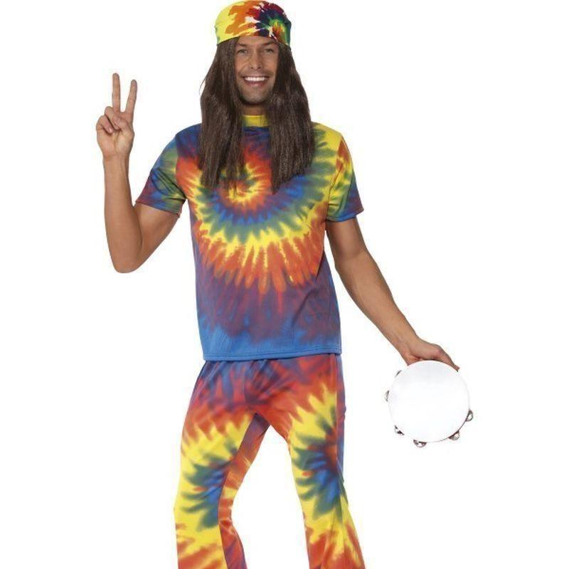 1960S Tie Dye Top And Flared Trousers Adult Rainbow - 60S Groovy Mad Fancy Dress