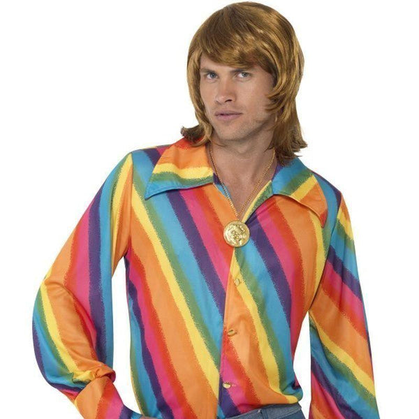 1970S Colour Shirt Adult Black - 70S Disco Mad Fancy Dress
