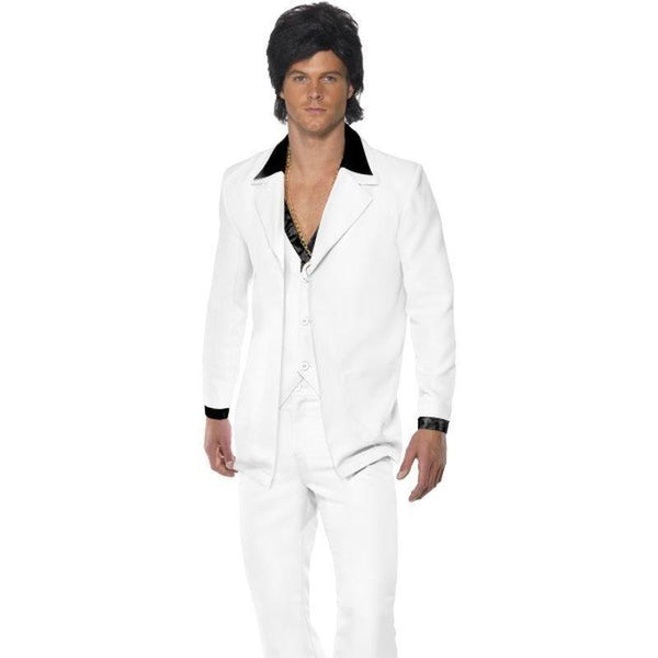 1970S Suit Costume Adult White - 70S Disco Mad Fancy Dress