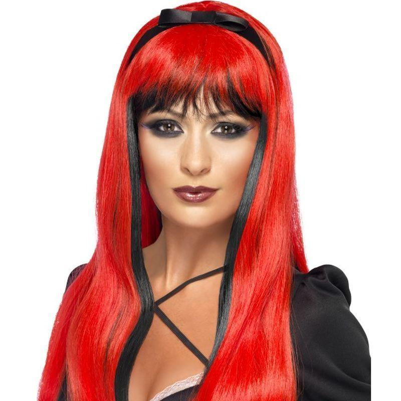 Bewitching Wig Adult Red/black - Halloween Costumes & Accessories Mad Fancy Dress