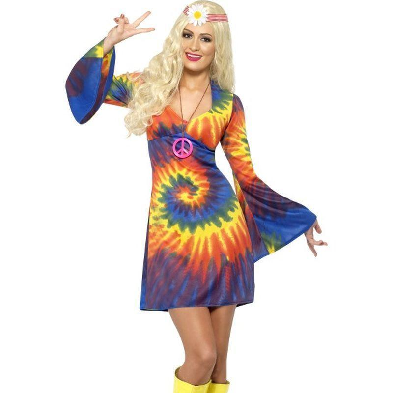 1960S Tie Dye Costume Adult Rainbow - 60S Groovy Mad Fancy Dress