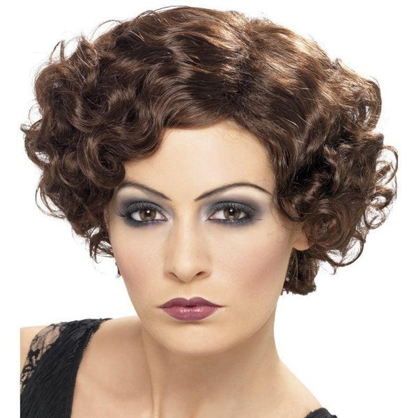 20S Flirty Flapper Wig Adult Brown - 20S Razzle Mad Fancy Dress