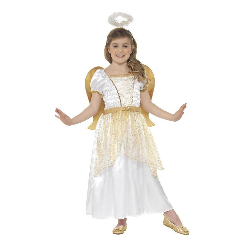 Angel Princess Costume Kids White/gold - Childrens Christmas Costumes Mad Fancy Dress