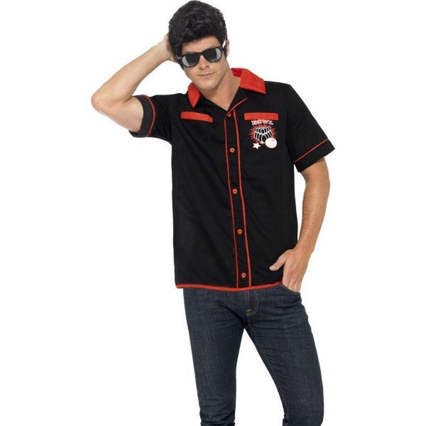 50S Bowling Shirt Adult Black - 50S Rocknroll Mad Fancy Dress