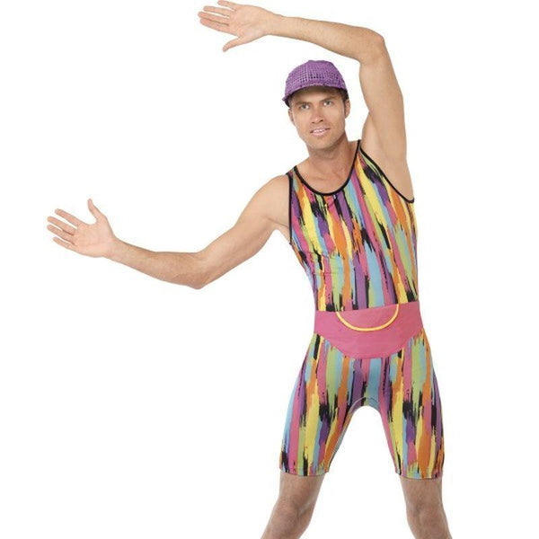 Aerobics Instructor Costume Adult Black - 1990S Theme Fancy Dress Mad Fancy Dress