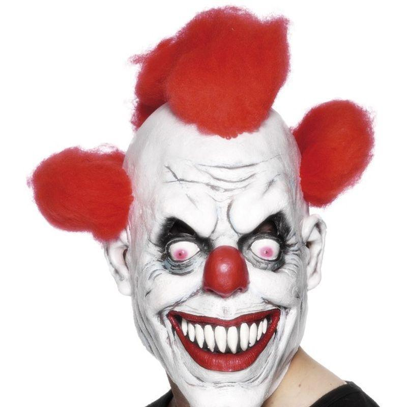 Clown 3/4 Mask Adult White/red - Comedy & Clown Mad Fancy Dress