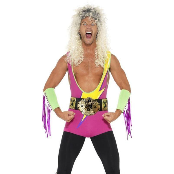 Retro Wrestler Costume Adult Pink - 1990S Theme Fancy Dress Mad Fancy Dress