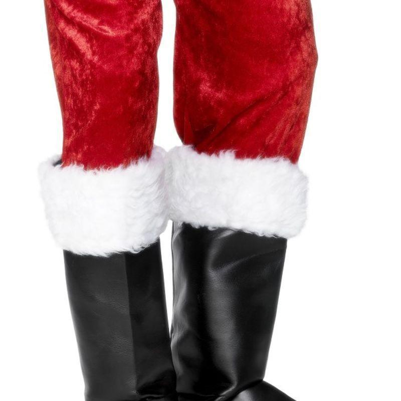 Santa Boot Covers Adult Black/white - Christmas Accessories Mad Fancy Dress