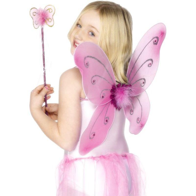 Butterfly Wings & Wand Kids Pink - Girls Costumes Mad Fancy Dress