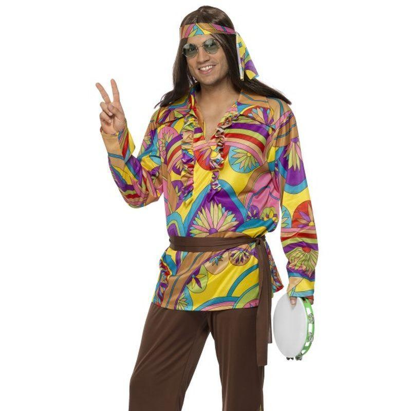 Psychedelic Hippie Man Costume Adult Black - 60S Groovy Mad Fancy Dress
