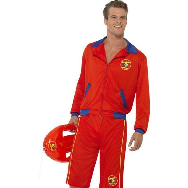 Baywatch Beach Mens Lifeguard Costume Adult Red/blue - Baywatch Licensed Fancy Dress Mad Fancy Dress