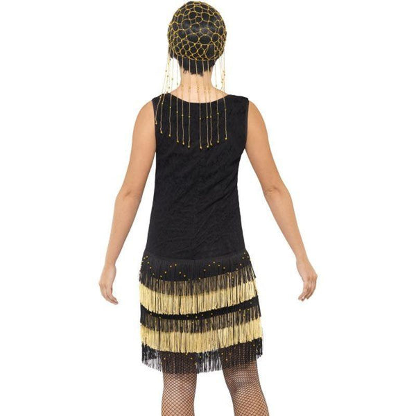 1920S Fringed Flapper Costume Adult Black - 20S Razzle Mad Fancy Dress