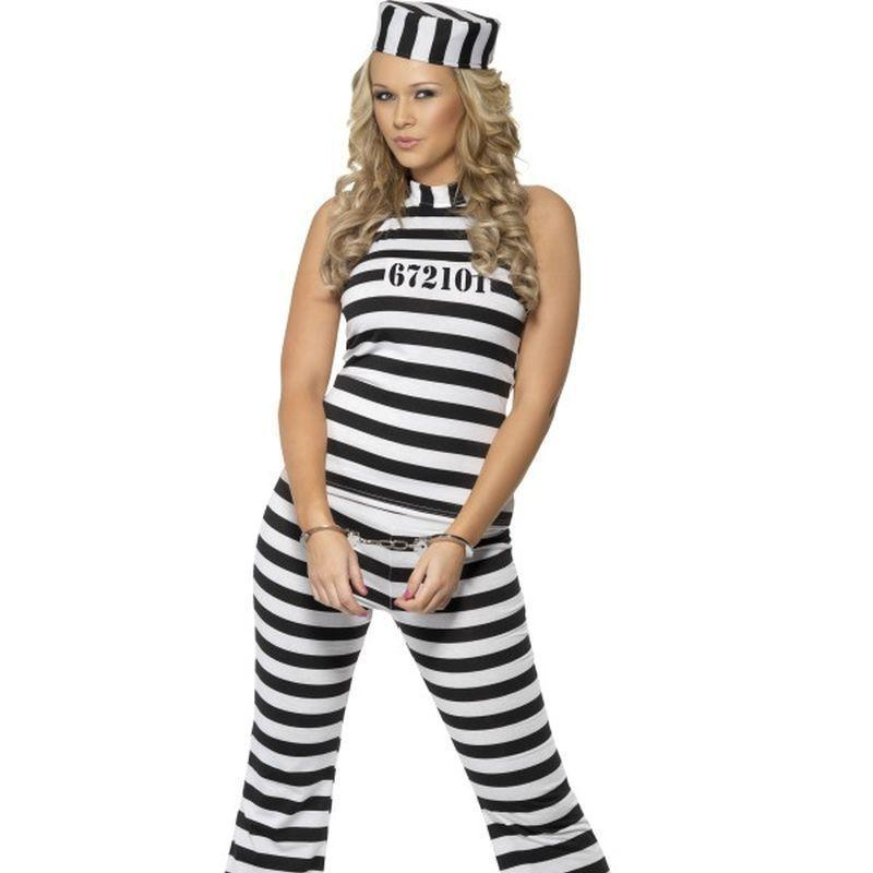 Convict Cutie Costume Adult White/black - Cops & Robbers Mad Fancy Dress