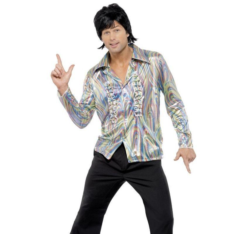 70S Retro Costume Adult Black/black - 70S Disco Mad Fancy Dress