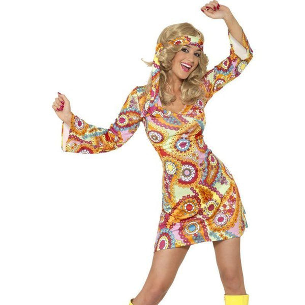 1960S Hippy Costume Adult Black - 60S Groovy Mad Fancy Dress