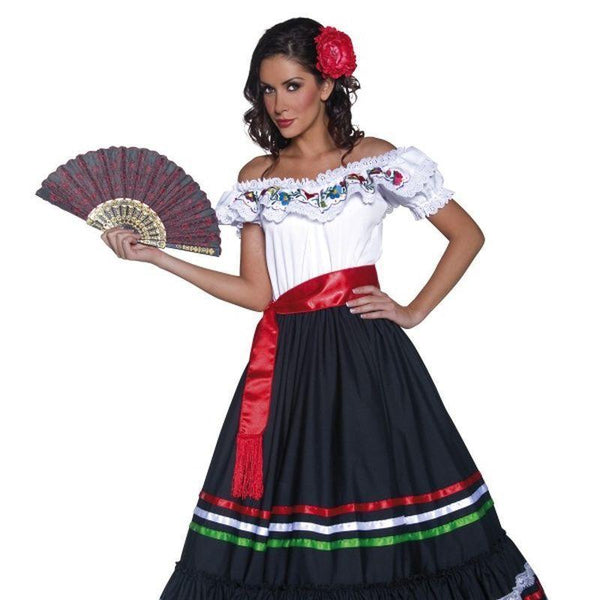 Authentic Western Sexy Senorita Costume Adult White/black - Cowboys & Indians Mad Fancy Dress