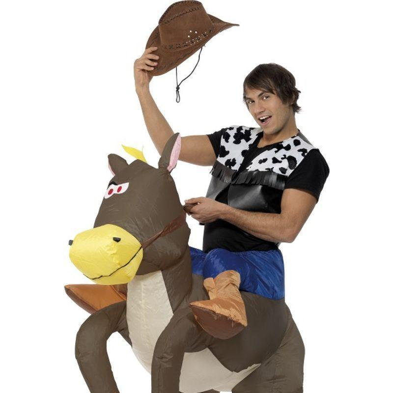 Ride Em Cowboy Inflatable Costume Adult Brown - Comedy & Clown Mad Fancy Dress