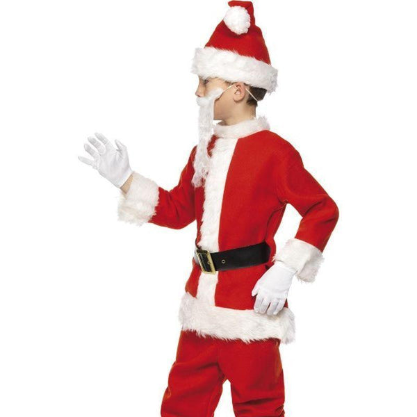 Deluxe Santa Costume & Beard Kids Red/white - Childrens Christmas Costumes Mad Fancy Dress