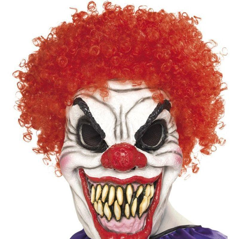 Scary Clown Mask Adult Red/white - Halloween Costumes & Accessories Mad Fancy Dress