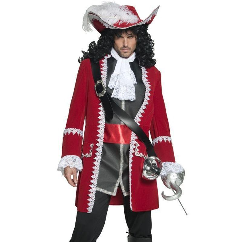 Deluxe Authentic Pirate Captain Costume Adult Red/black/white - Pirate Mad Fancy Dress
