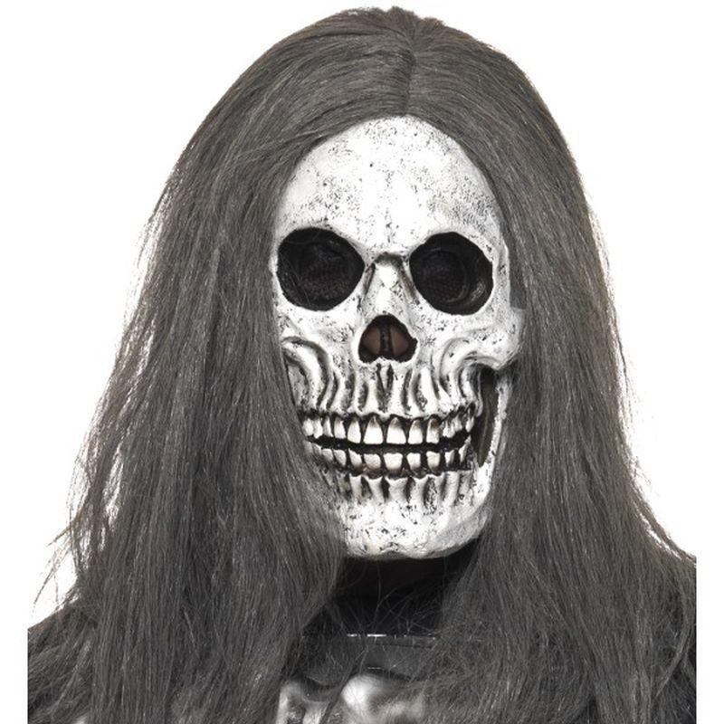 Sinister Skeleton Mask Adult Grey - Halloween Costumes & Accessories Mad Fancy Dress