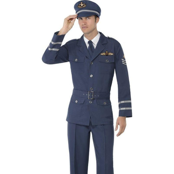 Ww2 Air Force Captain Costume Adult Blue - 1940S Wartime Fancy Dress Mad Fancy Dress