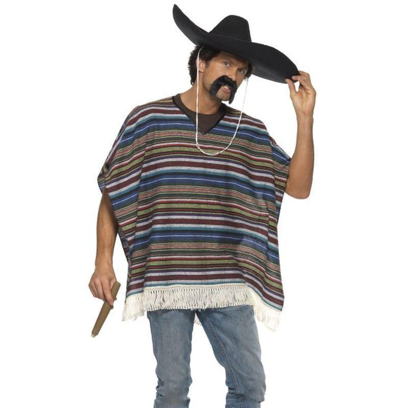 Authentic Looking Poncho Adult Black - Cowboys & Indians Mad Fancy Dress