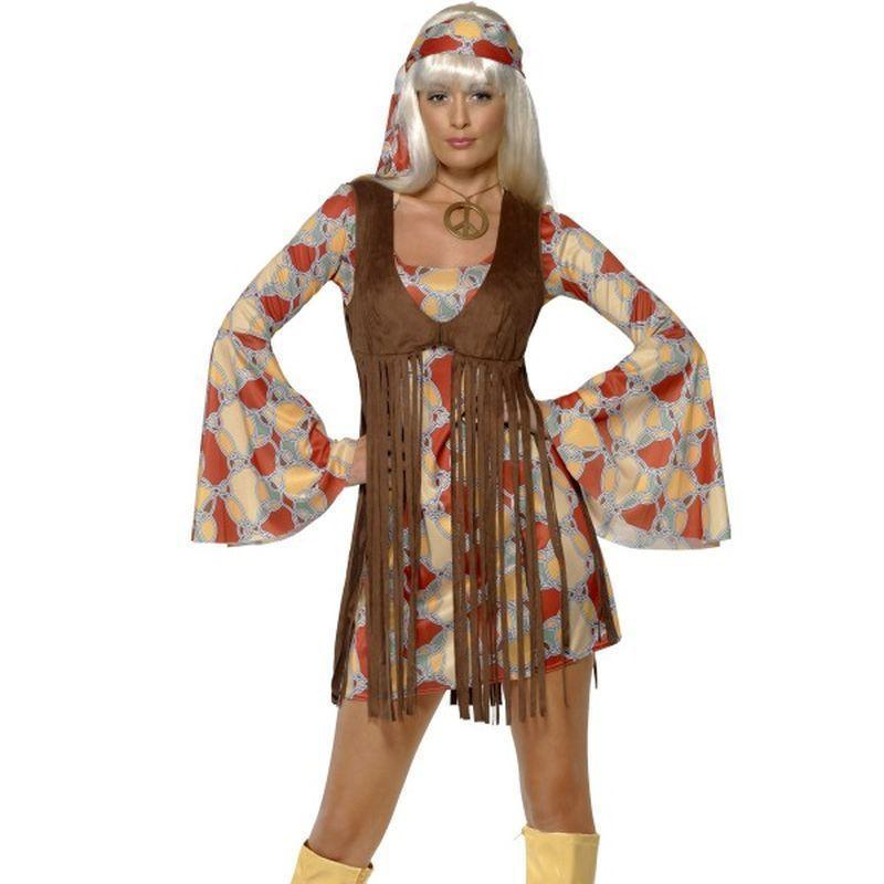 1960S Groovy Baby Adult Red/yellow - 60S Groovy Mad Fancy Dress