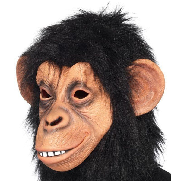 Chimp Mask Adult Black - Adult Animal Mad Fancy Dress