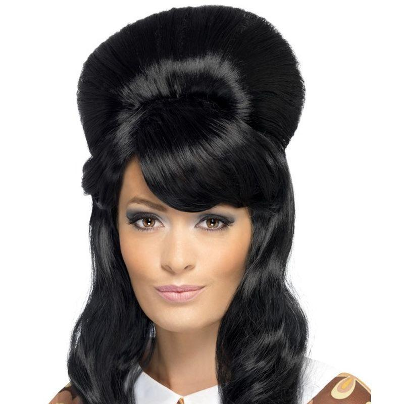 60S Brigitte Bouffant Wig Adult Black - 60S Groovy Mad Fancy Dress