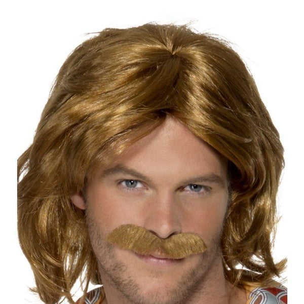 70S Super Trouper Wig & Moustache Adult Brown - Mens Wigs Mad Fancy Dress