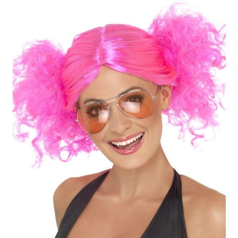 80S Bunches Wig Adult Pink - Ladies Wigs Mad Fancy Dress